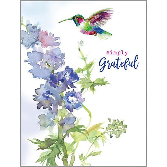 Blank Thank You Note Card  - Delphinium and Hummer, Gina B  Designs