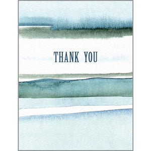 Blank Thank You Card - Watercolor Stripes, Gina B Designs