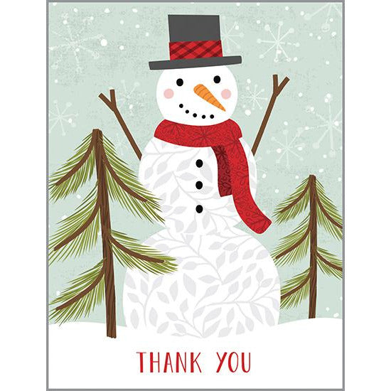 Thank You Blank Note Card  - Snowman With Pine