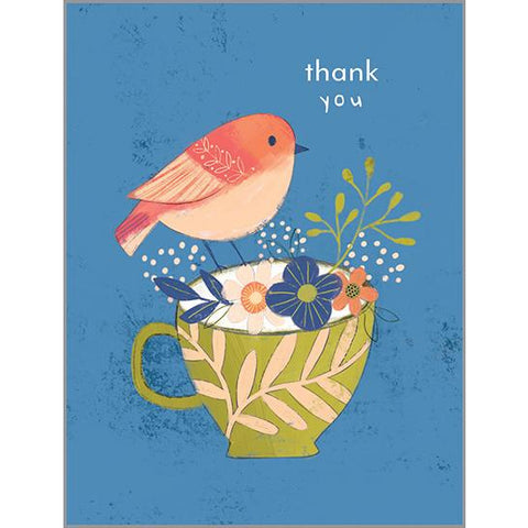 Blank Thank You Card  - Bird on Cup
