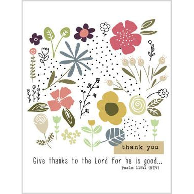 {with scripture) Blank Thank You Card - Flowers and Dots, Gina B Designs