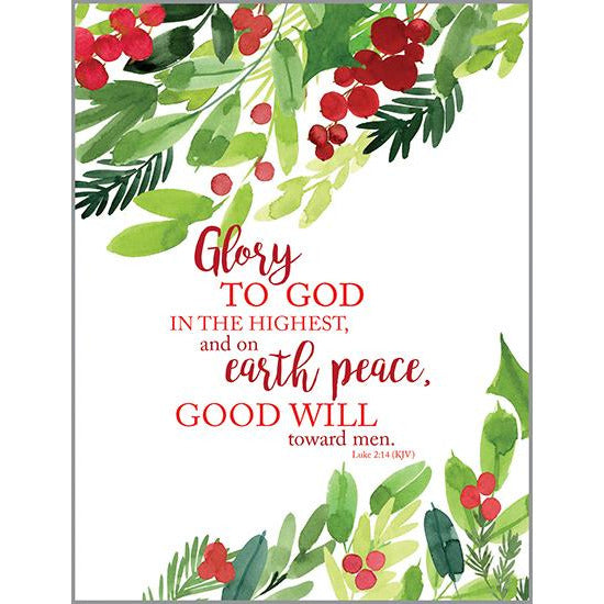 {with scripture} Blank Note Card  -  Peace and Goodwill Boughs