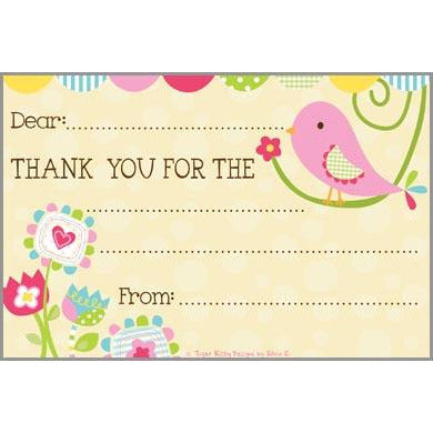 Kids Thank You Postcards - Bird Flowers, Gina B Designs