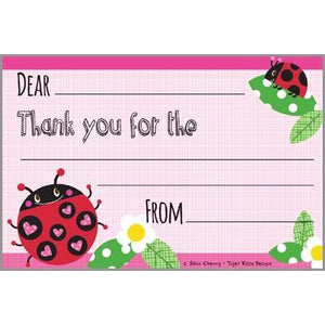Kids Thank You Postcards - Ladybug With Hearts, Gina B Designs