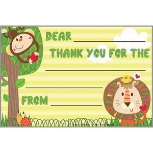 Kids Thank You Postcards - Jungle Animals, Gina B Designs