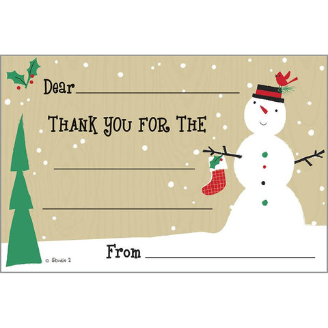 Holiday Kids Thank You Postcards - Snowman and Stocking, Gina B Designs