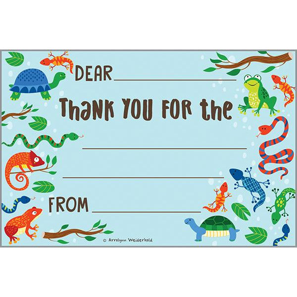 Kids Thank You Postcards - Turtles and Lizards, Gina B Designs