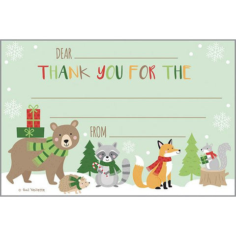 Holiday Kids Thank You Postcards - Winter Forest