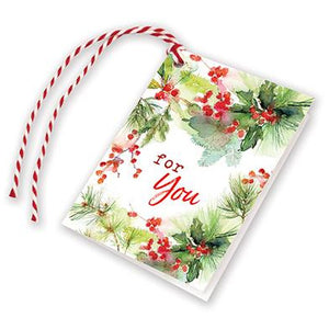 Holiday Gift Tags - Watercolor Pine/Berries, Gina B Designs