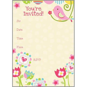 Fill-In Invitation - Cute Pink Bird