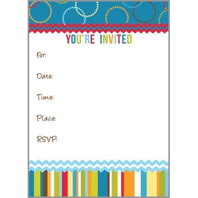 Fill-In Invitation - Colorful Stripes and Circles