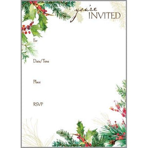 Fill-In Invitation - Red Ribbon Wreath, Gina B Designs