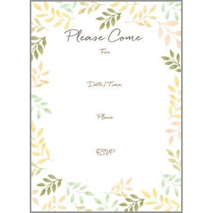 Fill-In Invitation - Yellow and Green Leaves