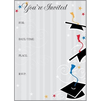 Fill-In Invitation - Hats and Grey Stripes