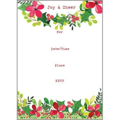 Fill-In Invitation - Christmas Flowers, Gina B Designs