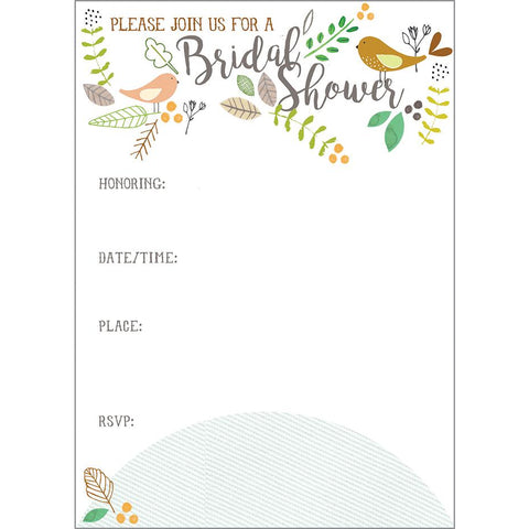 Fill-In Invitation - Birds and Twigs