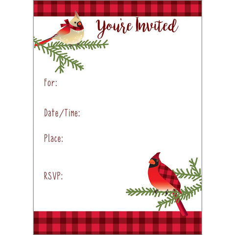 Fill-In Invitation - Cardinals in Plaid, Gina B Designs