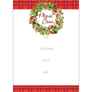 Fill-In Invitation - Christmas Wreath, Gina B Designs