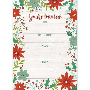Fill-In Invitation - Poinsettia Floral, Gina B Designs