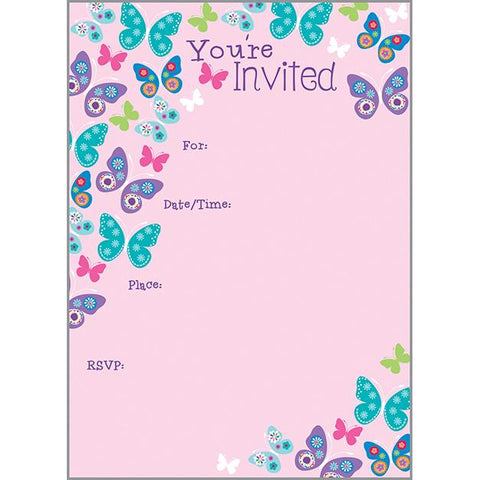 Fill-In Invitation - Butterflies on Pink