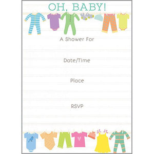 Fill-In Invitation - Baby Clothesline