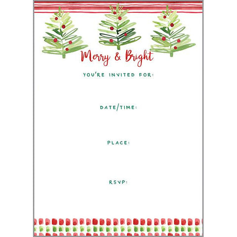 Holiday Fill-In Invitation - Happy Merry Trees
