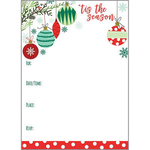 Holiday Fill-In Invitation - Ornaments