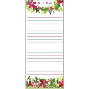List Pad- Christmas Flowers and Greens, Gina B Designs