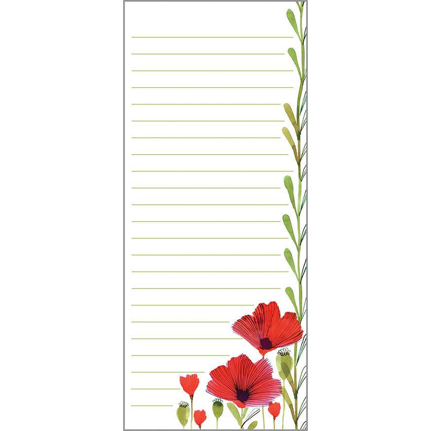 List Pad- Red Poppies