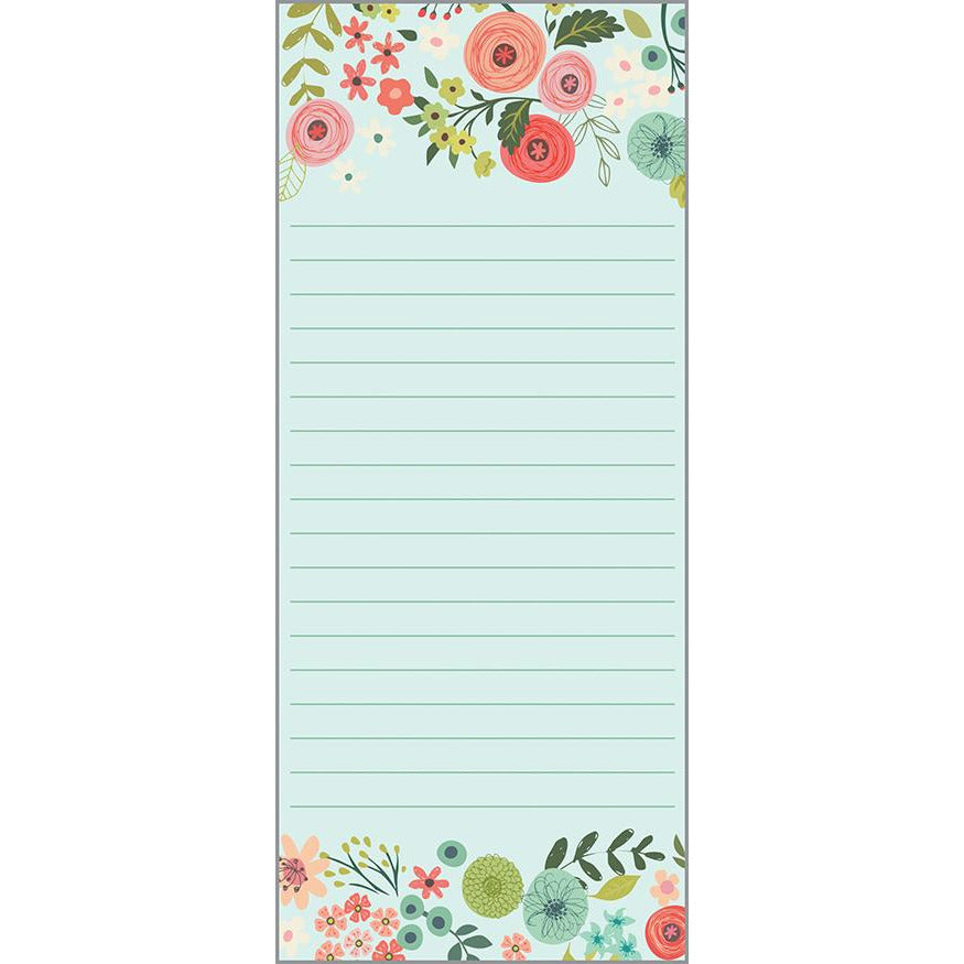 List Pad- Teal/Coral Flowers, Gina B Designs