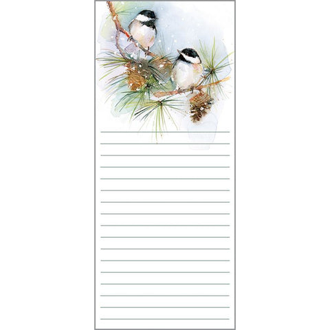 Holiday List Pad- Chickadees on Pine