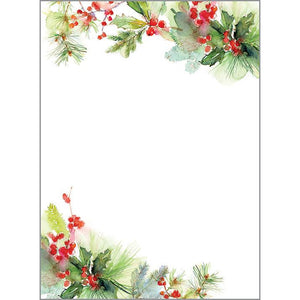 Holiday Memo Pad-  Watercolor Pine/Berries, Gina B Designs