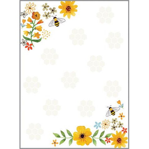 Memo Pad-  Bees Flowers and Honeycombs