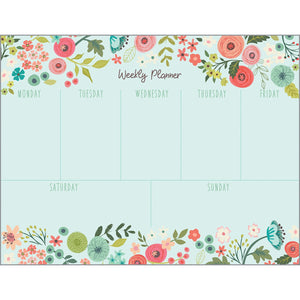Weekly Planner Pad - Coral Light Blue Flowers