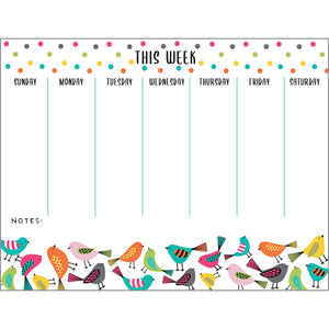 Weekly Planner Pad - Bright Birds, Gina B Designs