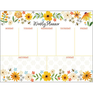 Weekly Planner Pad - Bees Flowers and Honeycombs