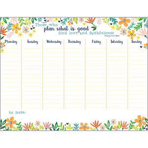 {with scripture} Weekly Planner Pad - Rejoice Flowers