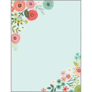 Desk Note Refill - Teal Coral Flowers, Gina B Designs