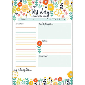 Daily Planner Pad -  Red Yellow Poppies
