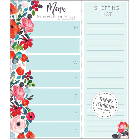 {with scripture} Meal Planner Pad - Roses on Blue