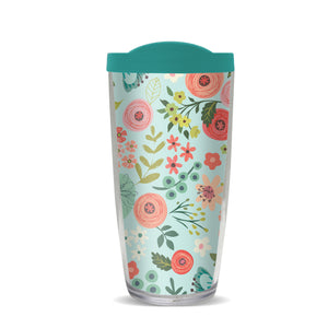 Coral Light Blue Flowers Thermal Tumbler, Gina B Designs
