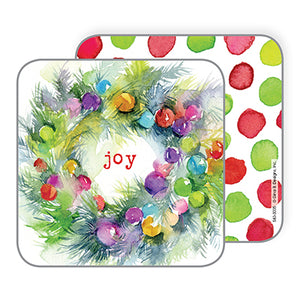 Holiday Coasters- Colorful Bulb Wreath