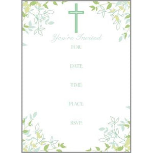 Fill-In Invitation - Cross and Leaves