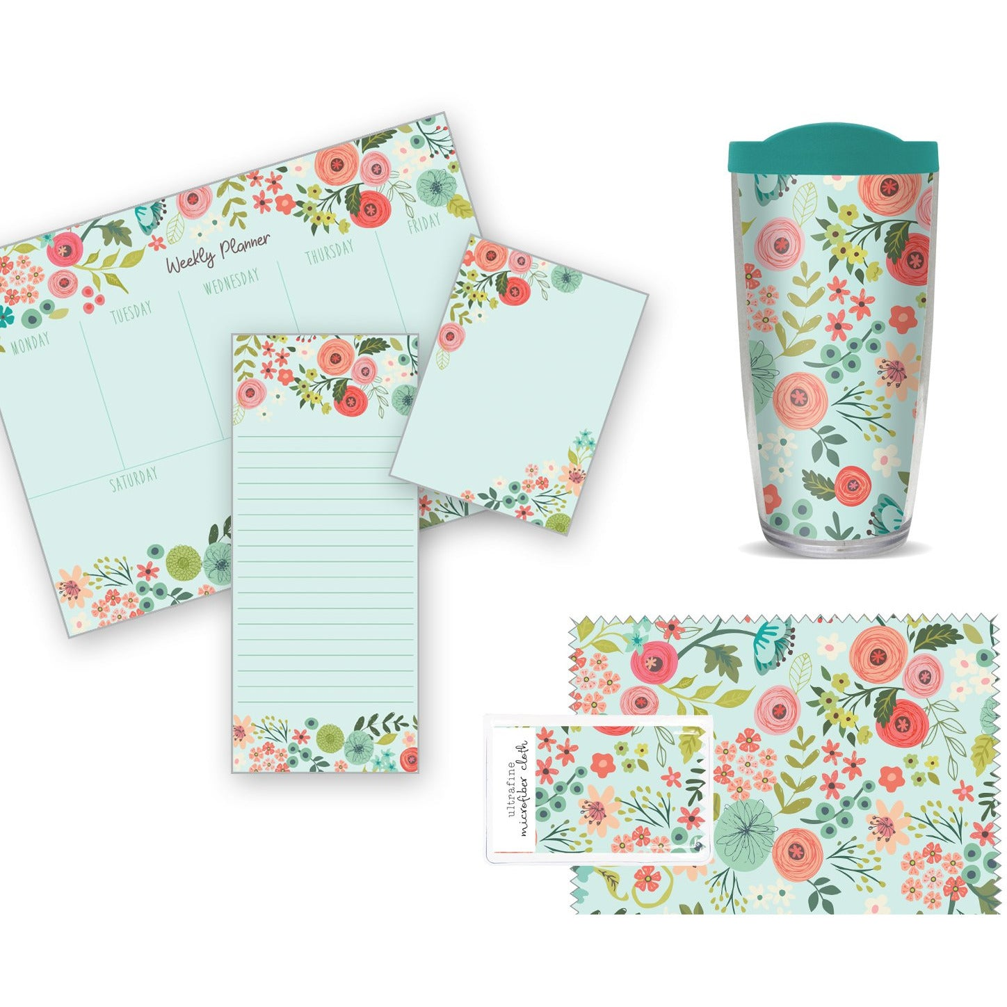 Bundle - Coral and Light Blue Flowers Gift Collection