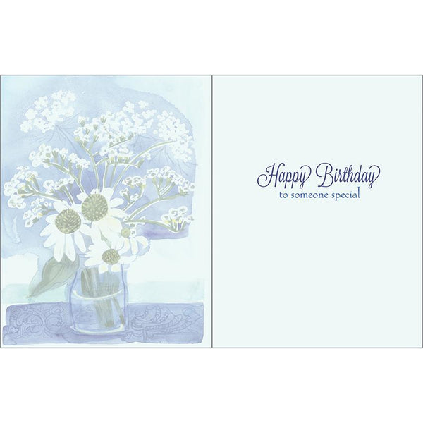 Birthday card - White Flowers on Blue