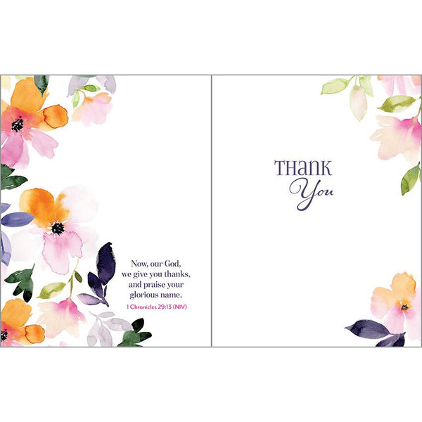 {with scripture} Thank You card - Magenta Orange Flowers, Gina B Designs