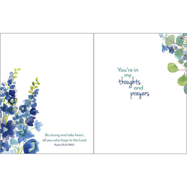 {with scripture} Thinking of You Card - Delphinium