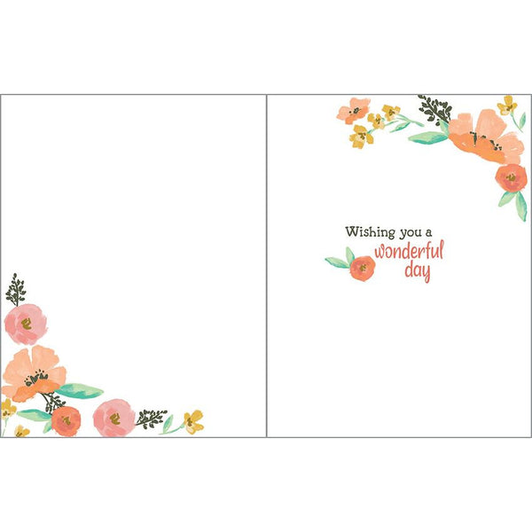 {with scripture} Birthday Card - Peach/Pink Poppies