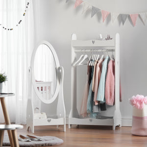 Girls full length mirror, girls clothing rail