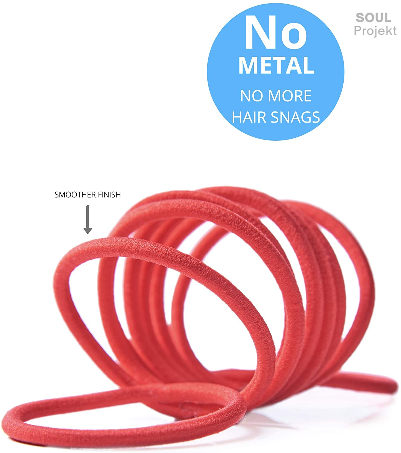 Soul Projekt Hair Bands 100 Pack 4mm/Excellent Multipurpose Ties(Red 4mm), No Metal Tough Elastic Hair Bobbles for Numerous Hair Types/Pigtail, Plaiting, Ponytails & Buns For School, Work or Gym Usage